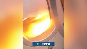 ویدئو: توربین هواپیما هنگام برخاستن از کانکون به مکزیکوسیتی – آمریکای لاتین – بین المللی آتش می گیرد