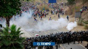 گواتمالا: مقامات کاروان مهاجران گاز اشک آور را متوقف می کنند – آمریکای لاتین – بین المللی